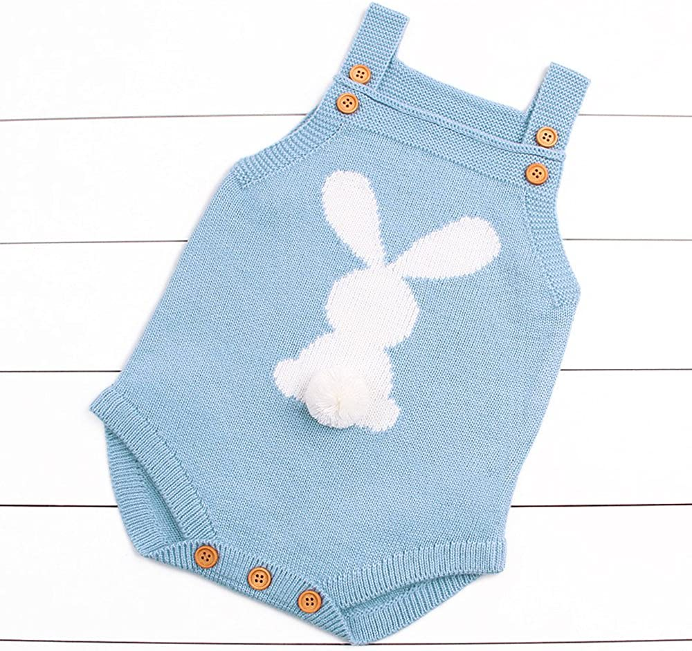 Lenfesh Newborn Bunny Jumpsuit Toddler Newborn Baby Boys Girls Strap Buttons Solid Rabbit Knitted Rompers Jumpsuit Outfits