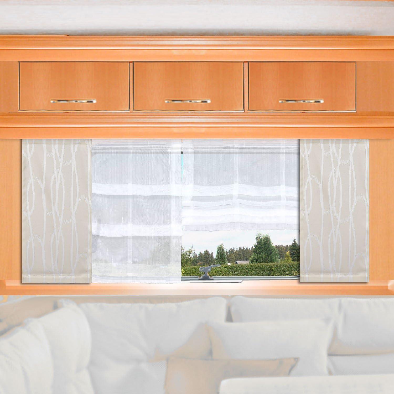 H/öhe 60 120cm nach Ma/ß SeGaTeX home fashion Caravan-Fl/ächenvorhang Nautis 20cm breit beige Fl/ächengardine f/ür Caravan Wohnwagen Wohnmobil