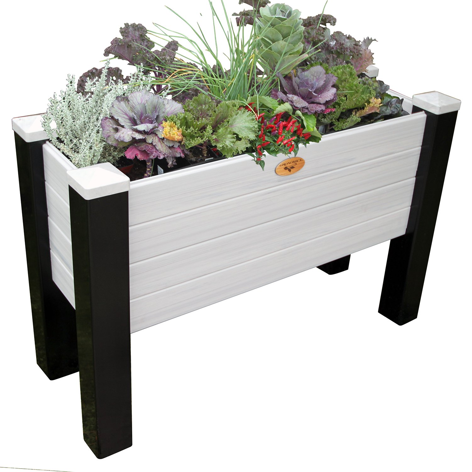Gronomics MFEGB 18-48 BG Maintenance Free Elevated Garden Bed, 18'' x 48'' x 32''/12.5'', Black/Gray by Gronomics
