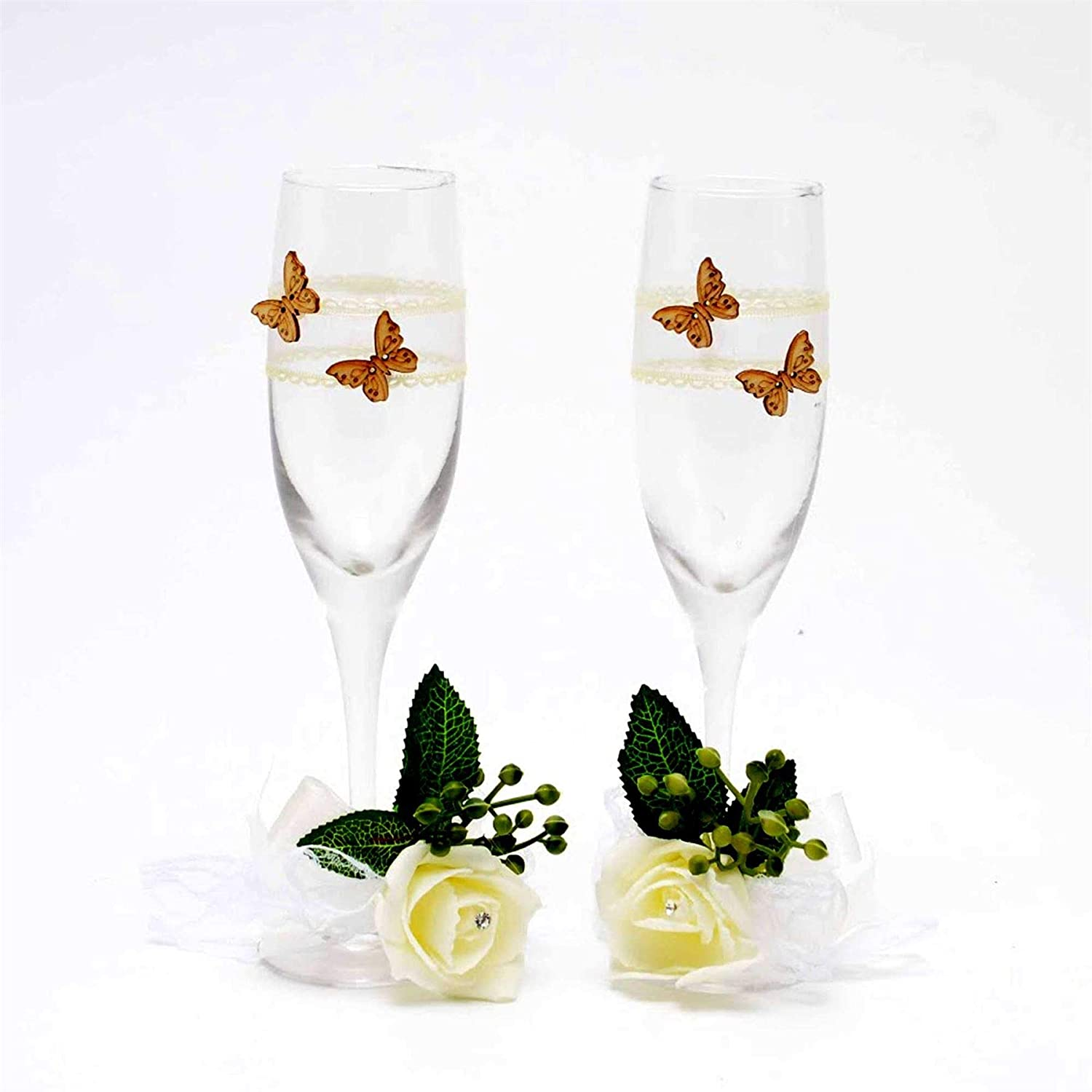 Bride & Groom Wedding Couple Anniversary Party Champagne Glasses Flutes Toasting Cups Decor Party Favours Gifts Table Decorations