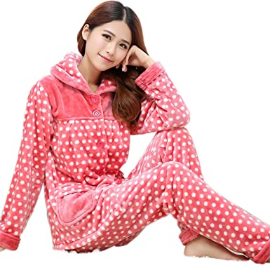 d94d740610ee Sleepwear Women Winter White Dots Thick Nightgown Flannel Pajamas Red Warm  Homewear Long Sleeve (M