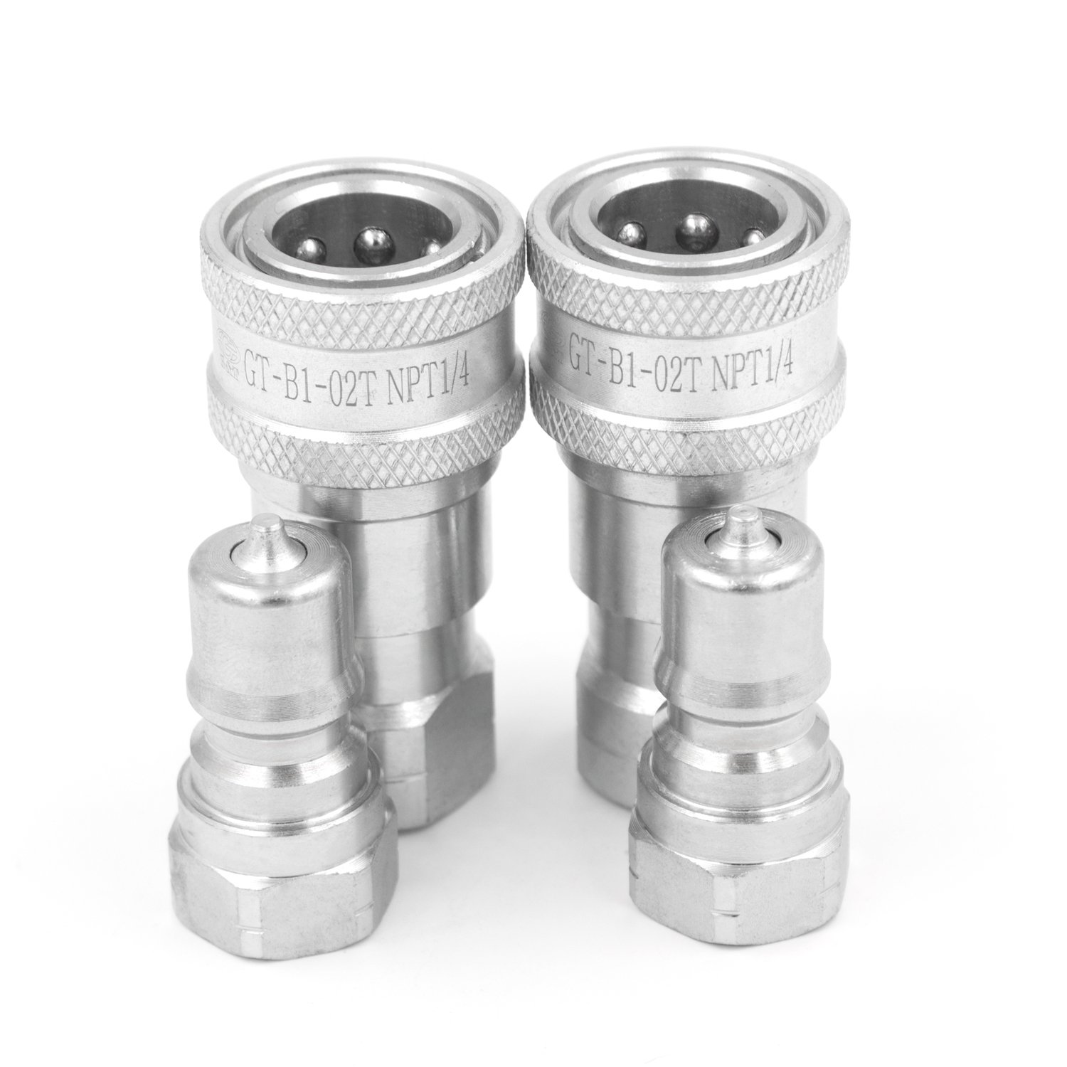2 Sets 1//4 NPT Thread ISO-B Hydraulic Quick Disconnect Coupler Tractor Quick Coupling with Dust Caps Gute
