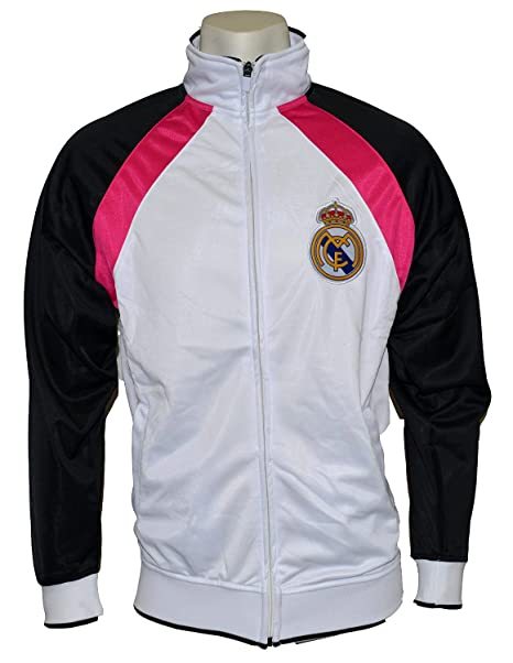 Real Madrid chaqueta de chándal (blanco negro rosa) pequeño  Amazon ... 361619c7f41be
