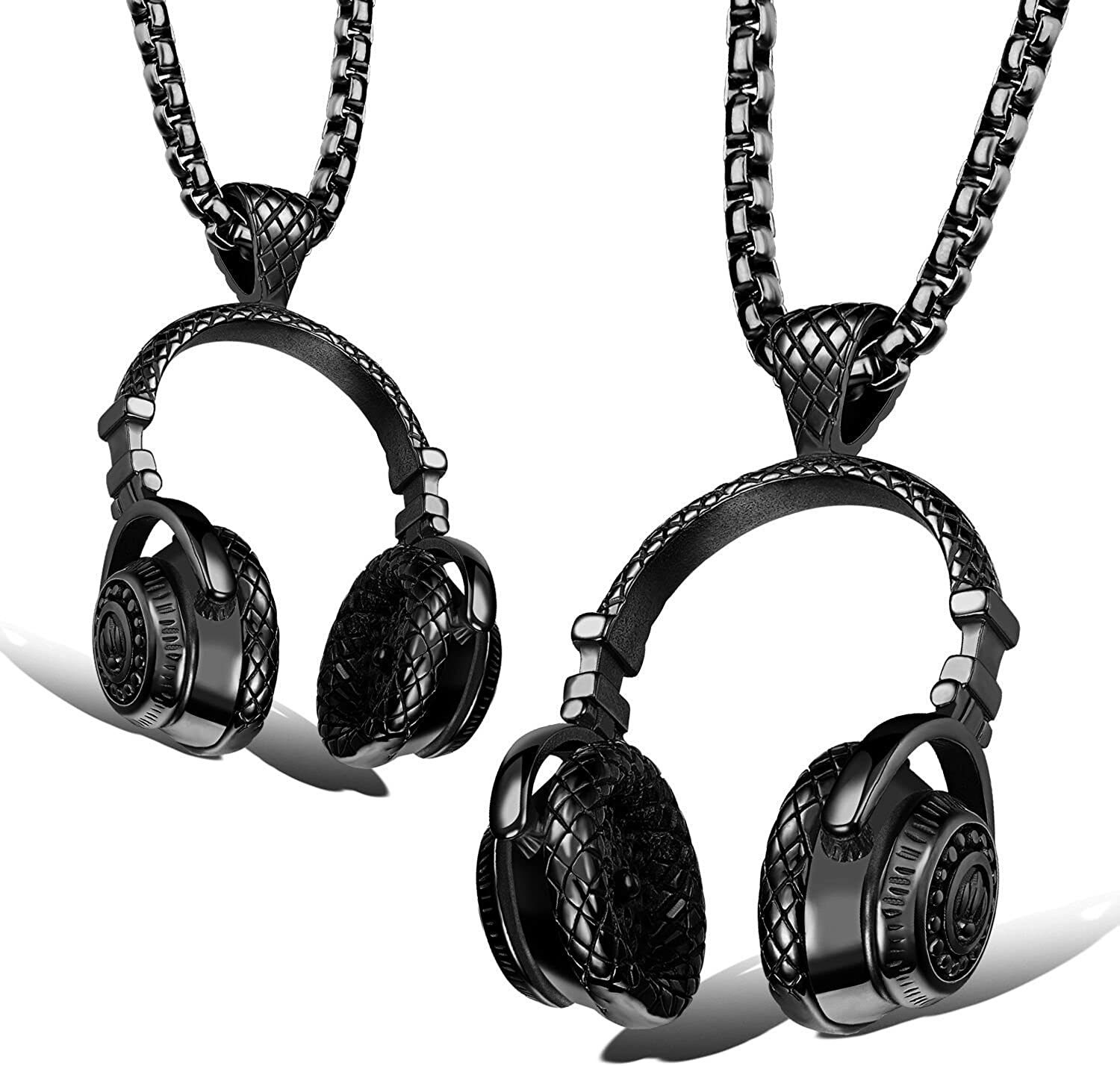 BeautySalon Hip Hop DJ Wireless Headphone Design Mens Stainless Steel Pendant Necklace