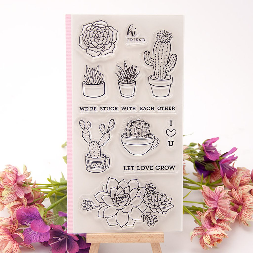 Seaskyer Cactus Flower Transparent Clear Stamp For Card Making, DIY Silicone Clear Stamp Cling Seal Scrapbook Embossing Album Decor Craft