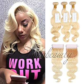Qlove Hair Brazilian Body Wave #613 Blonde Hair 3 Bundles With 4*4 Lace Closure Non Remy 100% Huma Hair Extension 10-26inches Human Hair Weaves