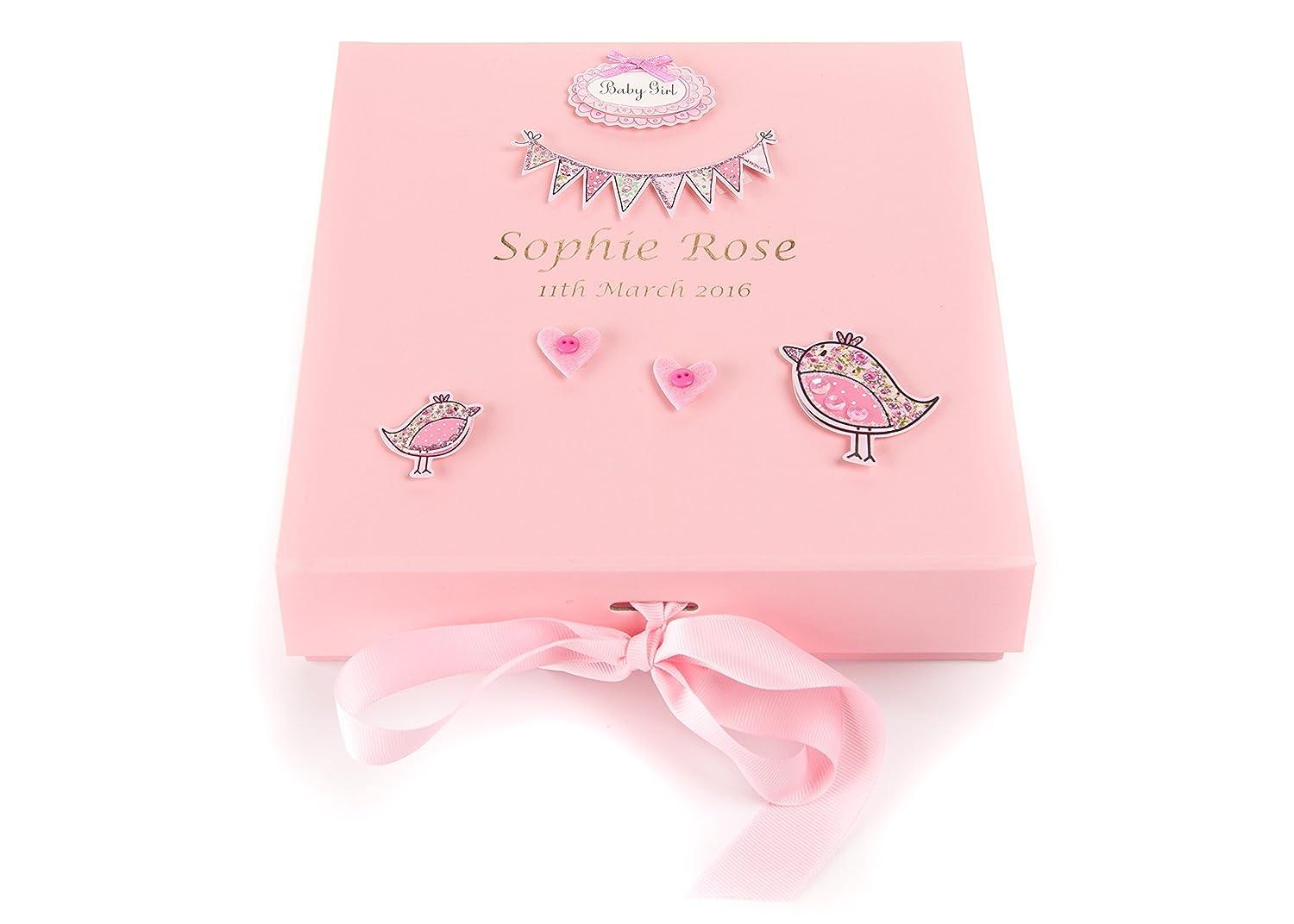 Personalised Baby Girl's Birth Keepsake Memory Trinket Box PINK Birds LARGE Hoolaroo
