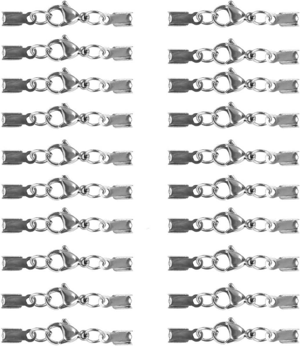 JZK 20 x Cierre de acero inoxidable para collares con cordon de cuero de zapatos para creación pulseras joyas bricolaje collar colgante