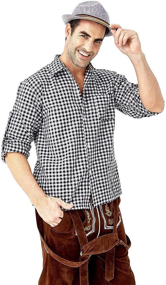 CAOQAO Camisa de Manga Larga del Festival de la Cerveza de la Tela Escocesa de la Solapa Diaria Floja del otoño de los Hombres Top: Amazon.es: Ropa y accesorios