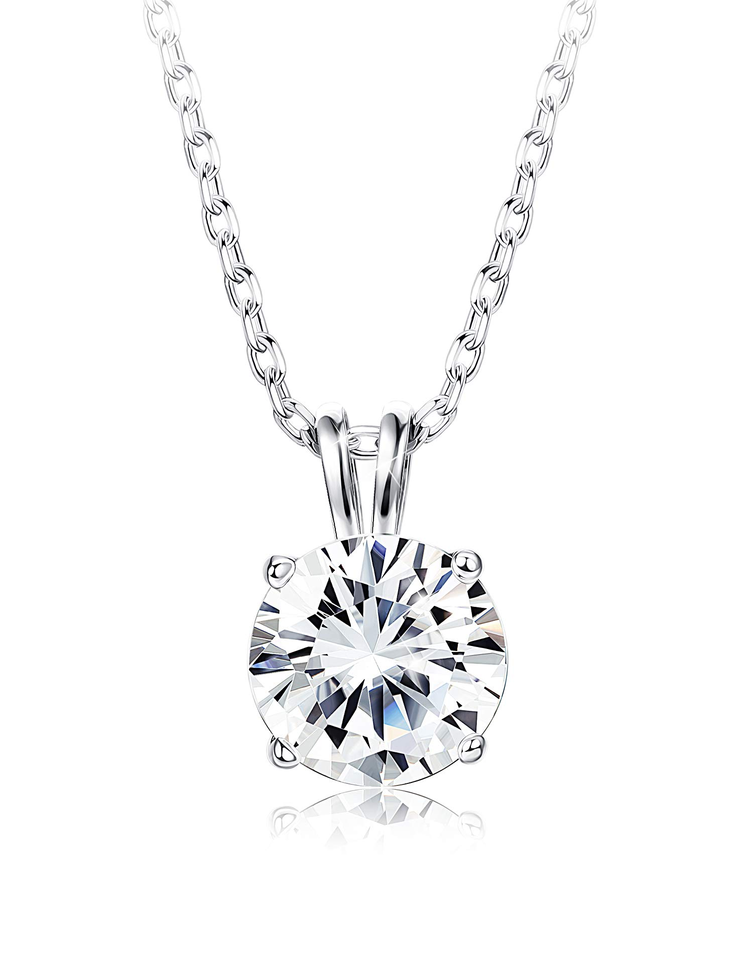 """Sllaiss Sets Swarovski Zirconia Sterling Silver Solitaire Pendant Necklace Women Round-Cut CZ Necklace Chain Jewelry Gift (2 cttw), 18"""""""