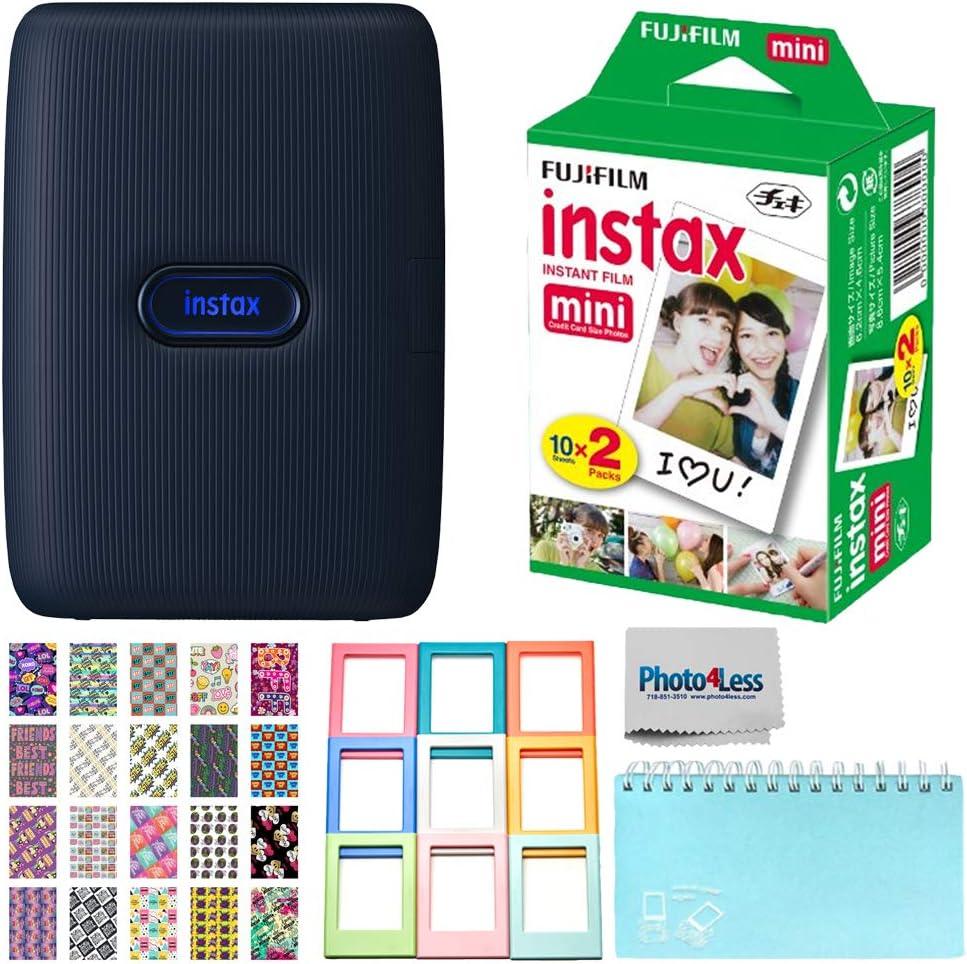 Fujifilm Instax Mini Link Smartphone Printer (Dark Denim) - Fuji Instax Mini Instant Film (20 Sheets) - Instax Accessory Bundle