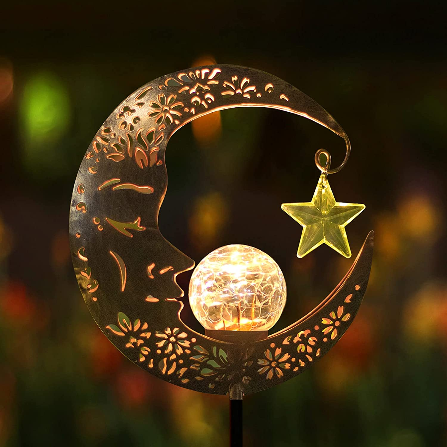 Hapjoy Outdoor Solar Lights Garden Decor for Patio,Lawn or Pathway Moon Decorations Crackle Glass Globe Stake Metal Lights Waterproof Warm LED Garden Gifts (Bronze)