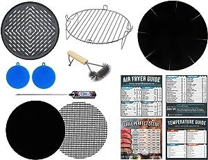 Air Fryer Rack Accessories Compatible with Costzon 4.8 QT, Ninja Foodi 8 QT, Posame 4.2 QT, Ultrean 8.5, Zokop 3.7 +More | Airfryer Baking & Grilling Tools Set + Cookbooks & Cooking Guides