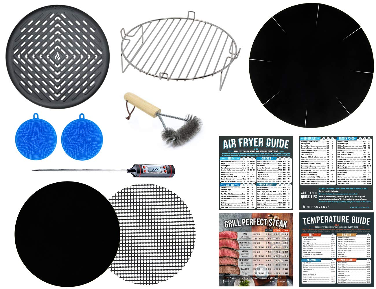 Air Fryer Accessories Kit Compatible with Ninja, Costway, Power Airfryer Oven, Chefman, Maxi-Matic Elite Platinum, GoWise USA, Habor, Chulux + More | 3.2 – 4.2 – 6.5 qt | Cooking Times Cheat Sheet