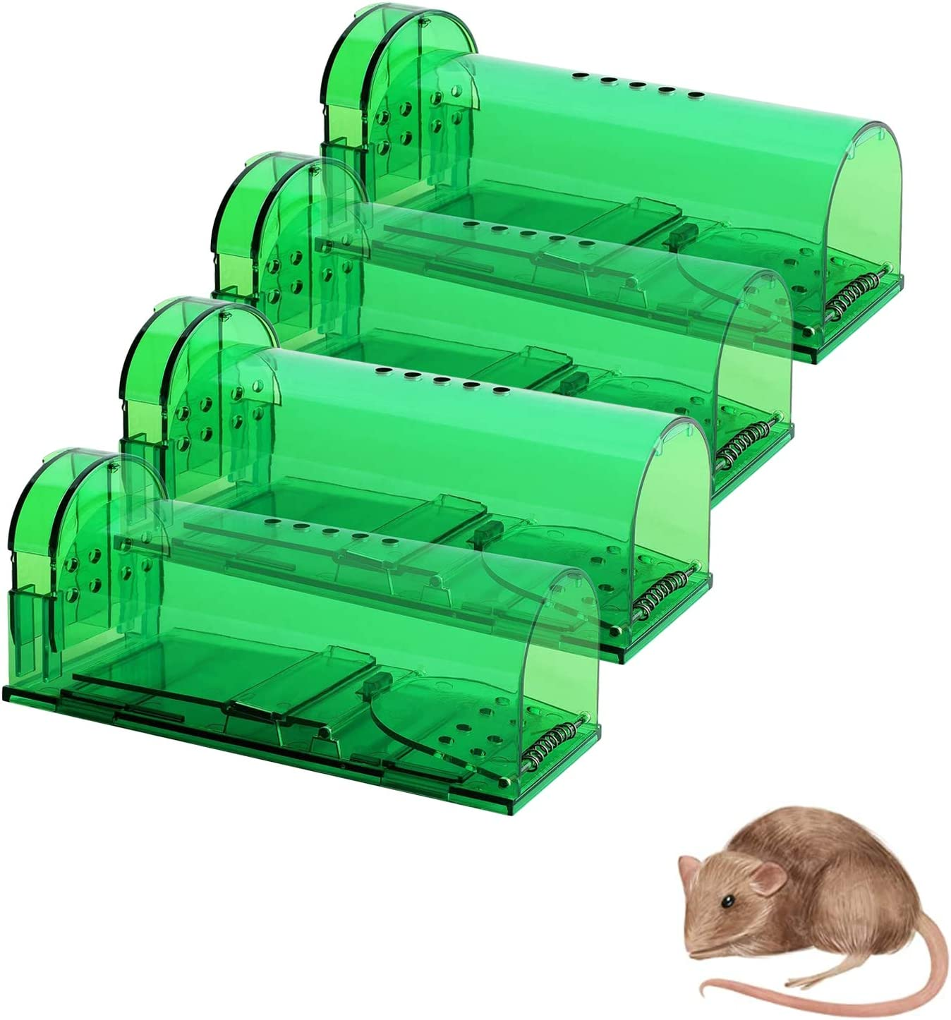 4 Pack Mouse Traps with No See Kill, Reusable Mice Trap Catch for House & Outdoors