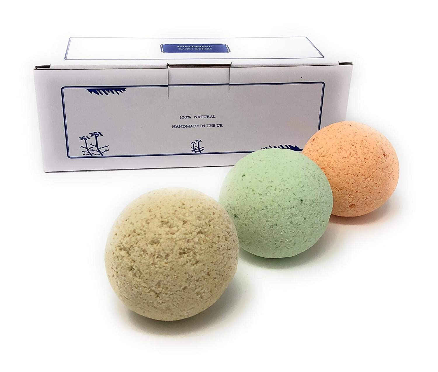 3 Luxury Therapeutic Bath Bombs Gift Pack For Men. Handmade in the UK