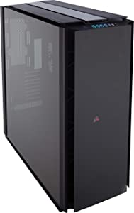 Corsair OBSIDIAN 1000D Super-Tower Case, Smoked Tempered Glass, Aluminum Trim - Integrated COMMANDER PRO fan and lighting controller (CC-9011148-WW), black