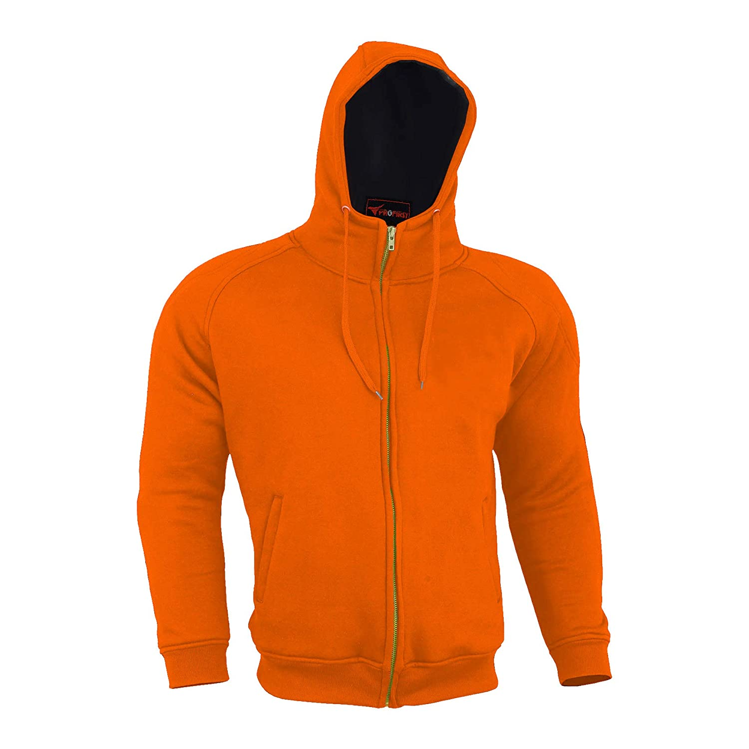 Armoured Hoodie Motorcycle Motorbike Summer Hoody Jacket Zip Up Removable Armor Bikers Orange Size = Medium