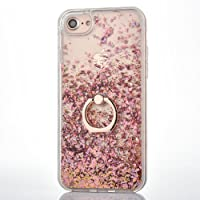iPhone 6 6S Case [With Tempered Glass Screen Protector],Mo-Beauty Flowing Liquid Floating Bling Shiny Sparkle Glitter Clear Plastic Hard Case Cover For Apple iPhone 6 6S (Rose gold)
