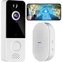 Wireless Video Doorbell with Chime, 1080P WiFi Doorbell Camera with Motion Detector, Free Cloud Storage, Two-Way Talk…