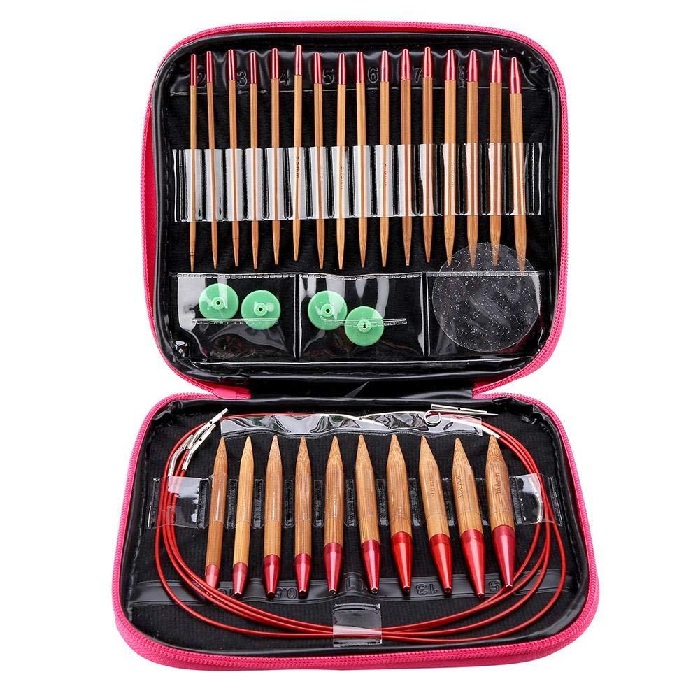 Circular Knitting Needles Ring Set Interchangeable Carbonized Bamboo Needles Set Aluminum
