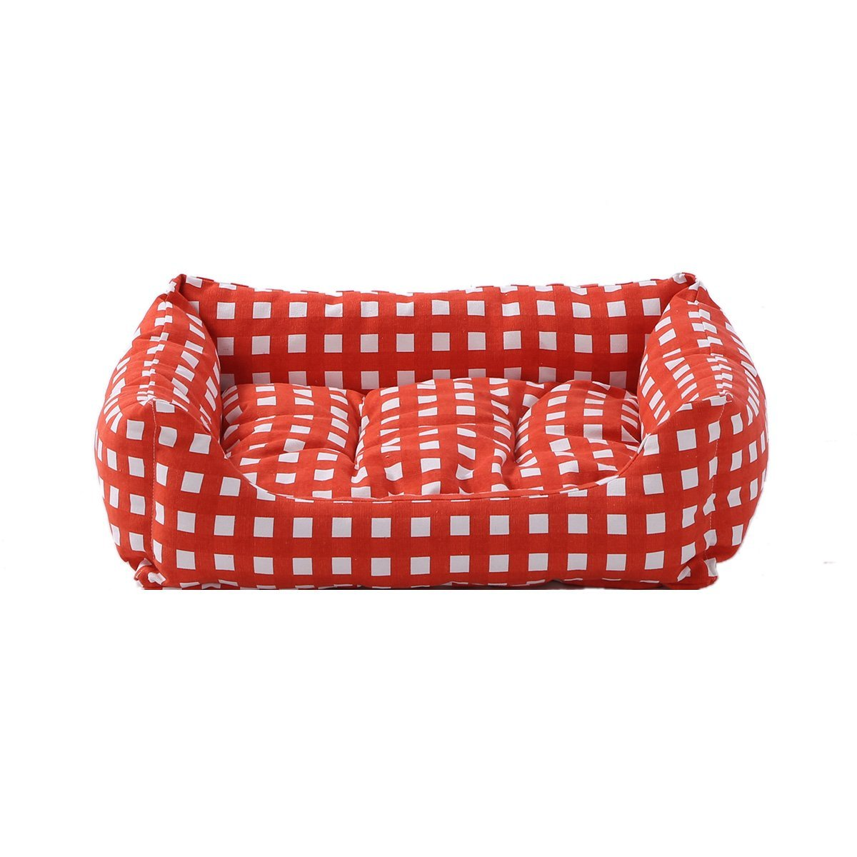 Medium SewForever Durable Pet Cuddle Cushion Dog Sleeping Bed Cat Sleeping Bed with Removable Pad, Red Checked, Medium