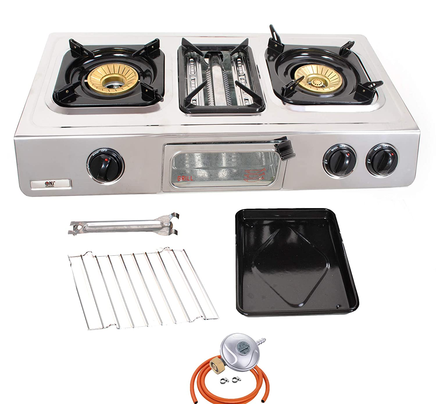 NJ GC-87 Gas Stove 2 Burners Grill & Oven Stainless Steel Outdoor BBQ + Gas Regulator Set FONTRON LTD
