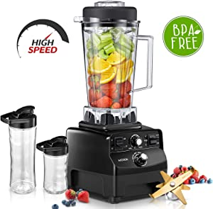 Countertop Blender for Protein Shakes and Smoothie with Cookbook, 1450W Professional Blender for Crushing Ice, Frozen Dessert and Drinks, 70oz Durable BPA Free Tritan Jar Plus 2 Portable Travel Cups