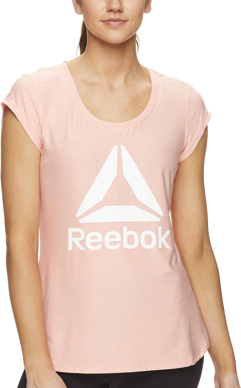 Reebok Legend T-shirt de course et de sport à manches courtes pour femme Candlelight Peach Heather Legend