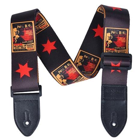 Correa KingPoint de poliéster para guitarra, 2 mm de grosor con terminaciones de