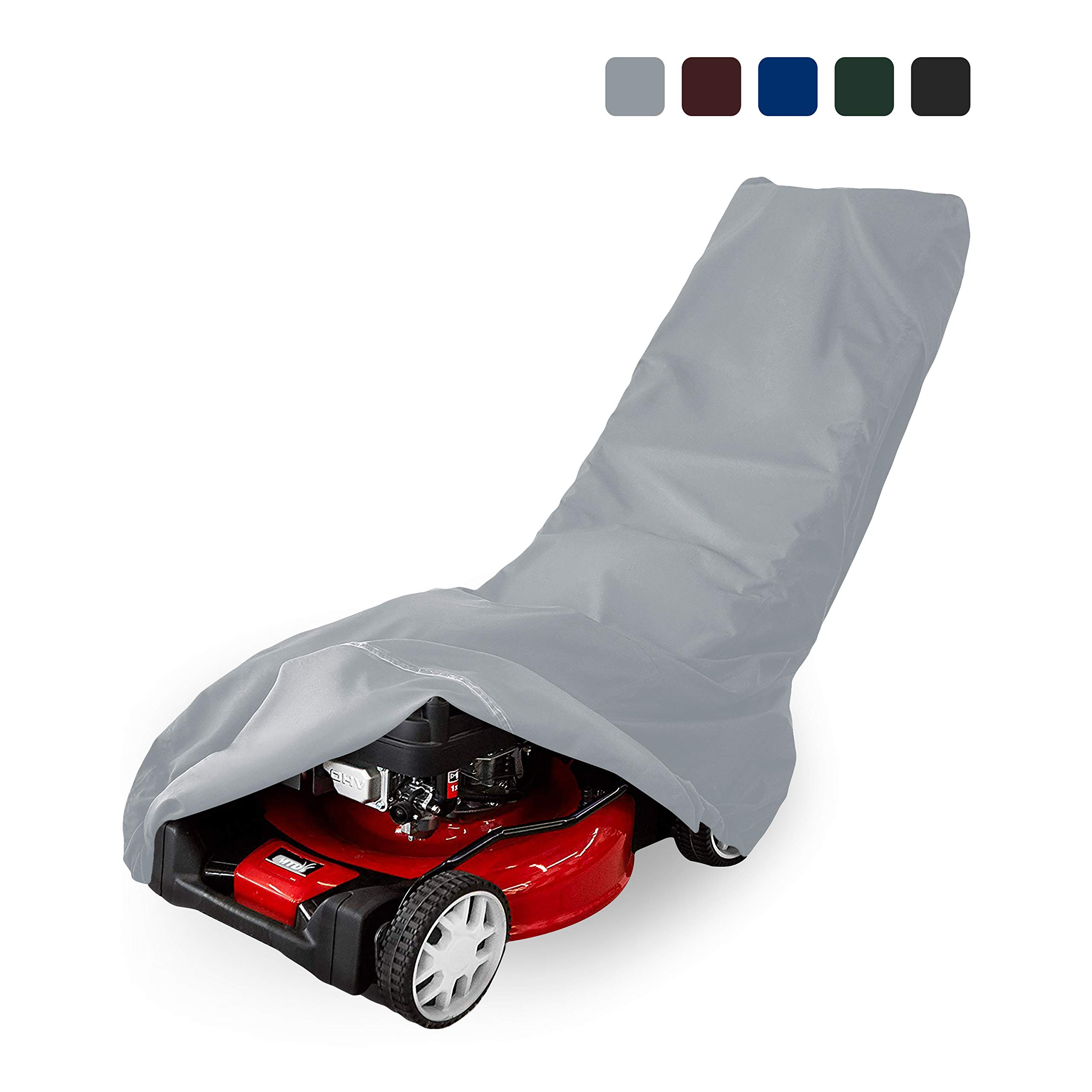 Lawn Mower Cover 18 Oz Waterproof - Customize Cover with Any Size - 100% UV & Weather Resistant Grass Mower Cover with Air Pocket and Drawstring with Snug Fit (50'' W x 25'' W x 44'' H, Grey)