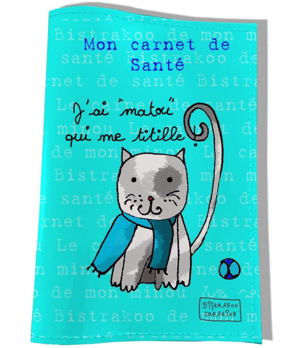 Protège carnet de santé pour chat, Coloris bleu, réf. C2253