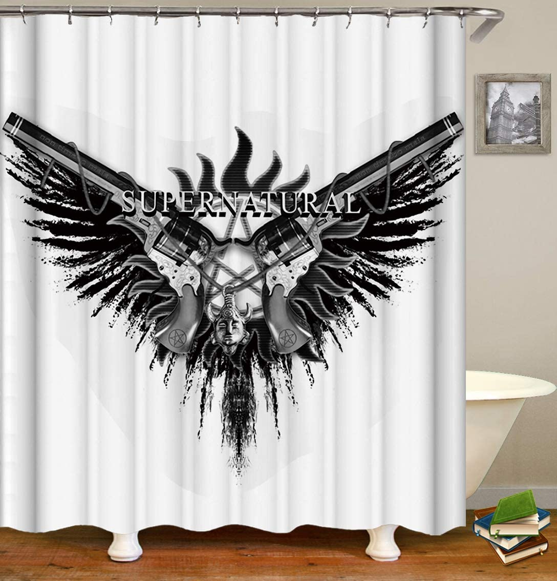 Bartori Home Decor Durable Shower Curtain with 12pcs Hooks in Package Two Guns with a Five-Pointed Star Logo Super Natural Waterproof Polyester Fabric Bath Curtain Size 71''X71''