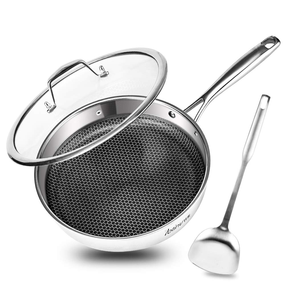 Potinv Stainless Steel Frying Pan, 10.25 Inch Nonstick Skillet with Lid and Turner, Induction Compatible, Anti-Warp Base, Dishwasher and Oven Safe