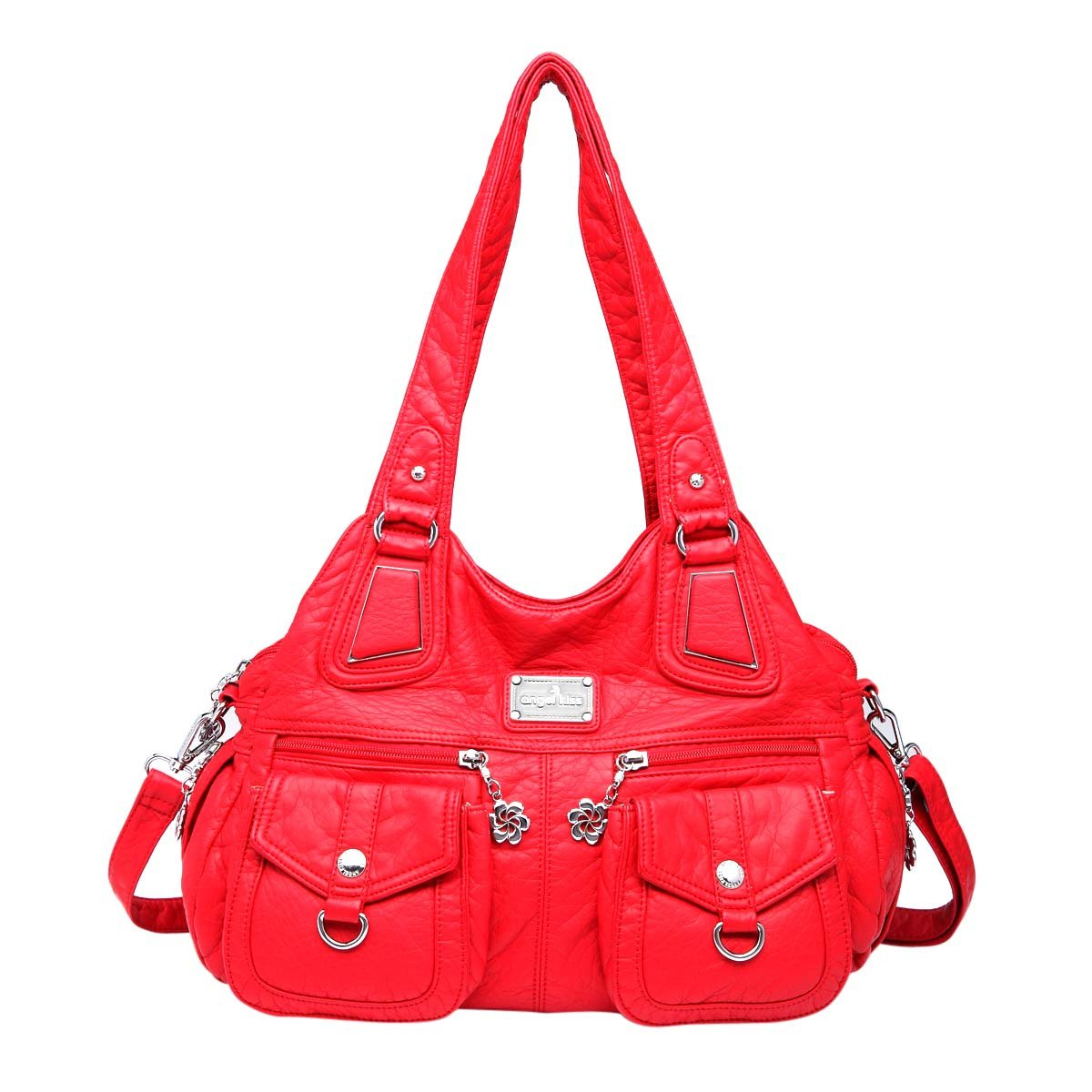 Angelkiss 3 Top Zippers Multi Pockets Handbags Washed Leather Purses Shoulder Bags Backpack 1593/2 (red)