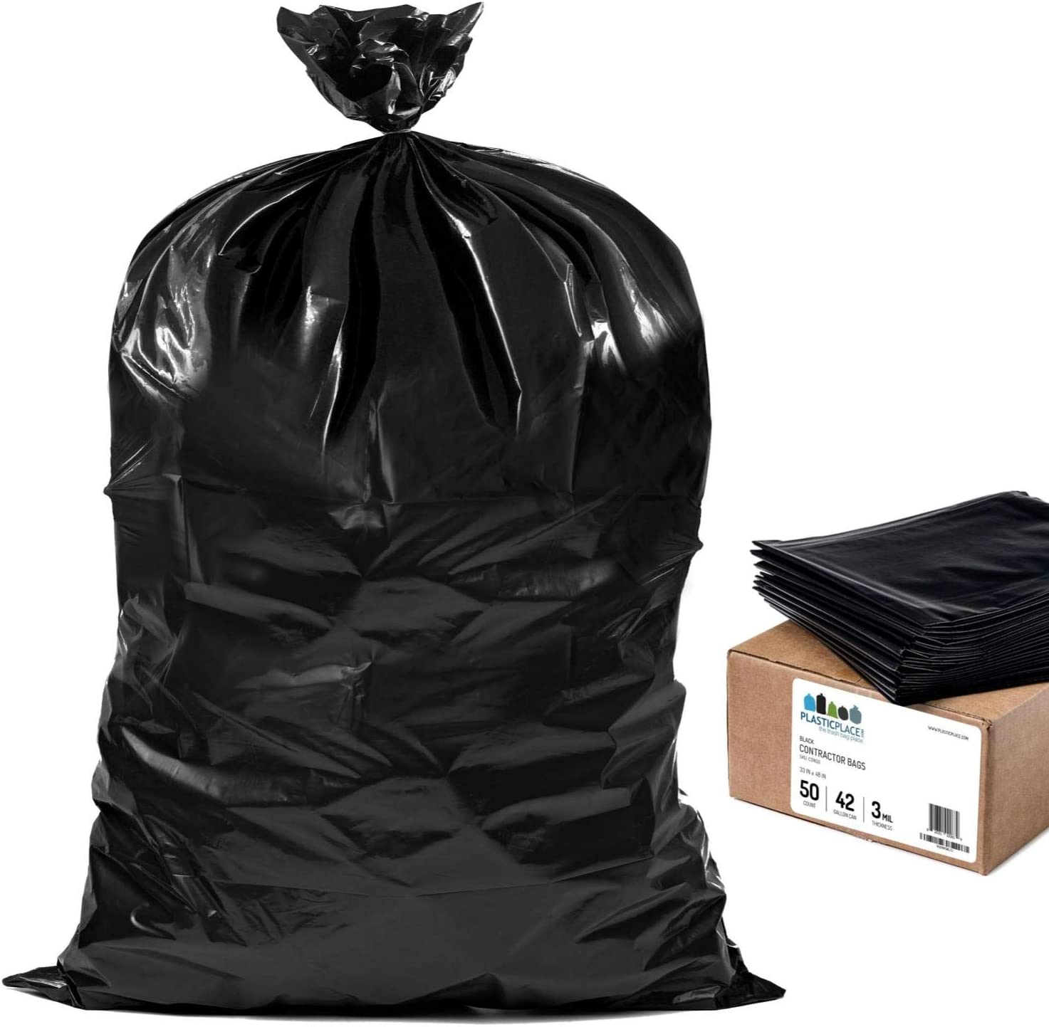 Aserson Heavy Duty Contractor Trash Garbage Bags NEW 3MIL Strengh 42 Gallon ..