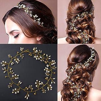 expédition gratuite les clients d'abord texture nette 50cm Bijoux Cheveux Mariage d'Or en Perles Cristal Fleur ...