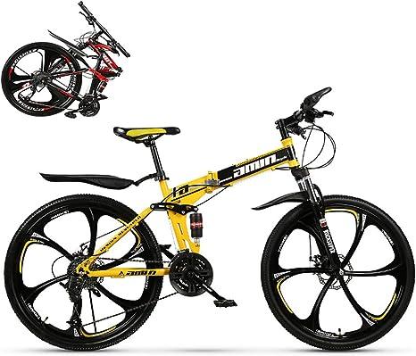 24 * 26 Pulgadas Bicicleta Plegable, Montaña Plegado Bike, Sillin Confort Marco De Acero De Alto Carbono, 21 * 24 * 27 * 30 Velocidades Plegable Bicicleta Folding Bike: Amazon.es: Deportes y aire libre