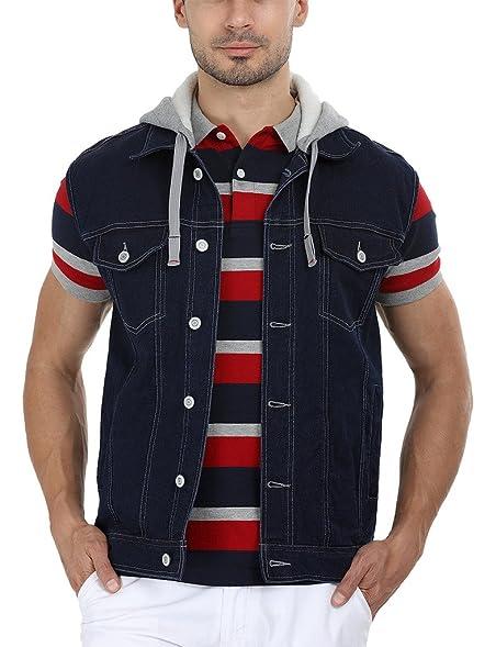 Zobello Men's Hooded Sleeveless Denim Jacket: Amazon.in: Clothing ...