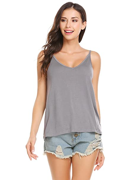 7d0dd742724cc3 SoTeer Womens Casual Loose Cotton V Neck Camisoles Cami Tank Tops - Grey S-