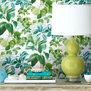 RoomMates Green Rainforest Leaves Peel and Stick Wallpaper