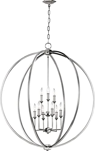 Feiss F3058 9PN Corinne Candle Chandelier Lighting, Chrome, 9-Light 36 Dia x 41 H 540watts