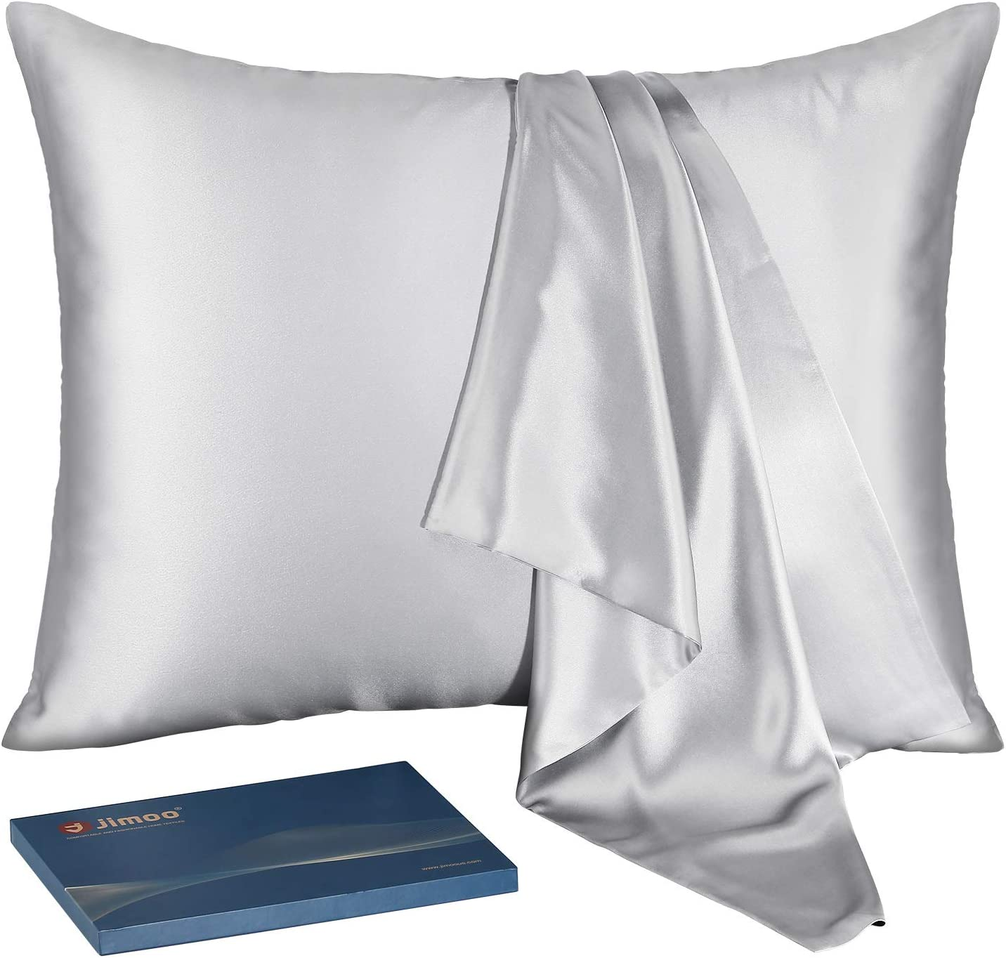 J JIMOO Natural Silk Pillowcase,for Hair and Skin with Hidden Zipper,22 Momme,600 Thread Count 100% Mulberry Silk (Standard 20×26inch, Silver Grey, 1 Piece)