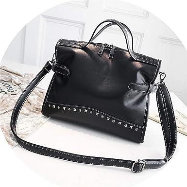 2203eb5ab6c Fashion Rivet Vintage Female Handbag Quality Leather Messenger Bag Women  Shoulder Bag Larger Top-Handle