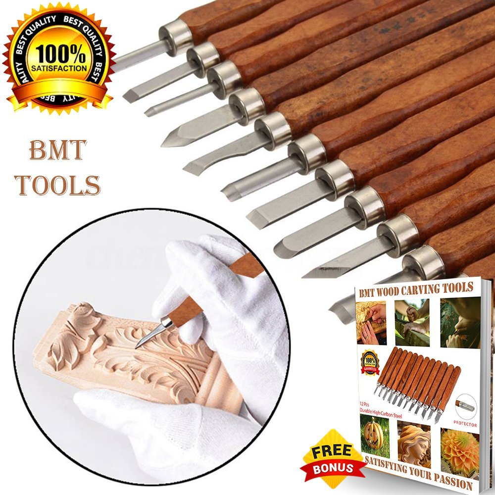 PREMIUM Wood Carving Tools [2018 UPGRADE VERSION] Durable High Carbon Steel SK2 - 12 Sculpting Knives for Carving Wood, Pumpkin, Soap, Rubber for Beginners Kids Adults with Safety Cap + Ebook