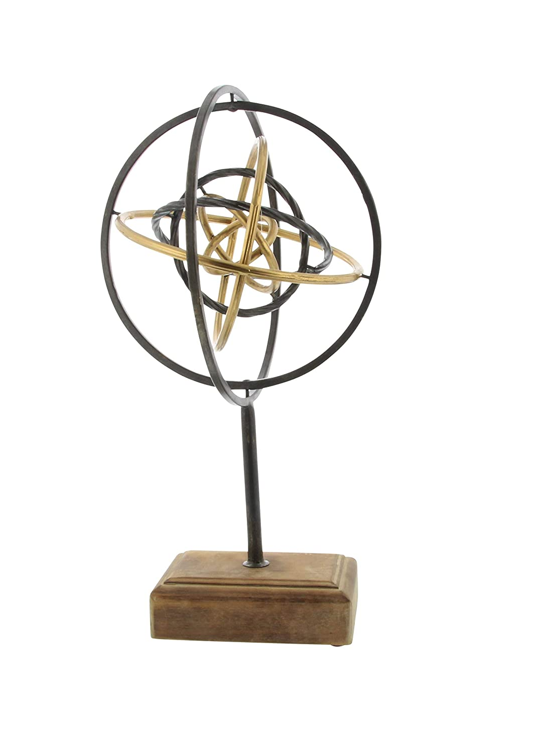 19 x 10 Deco 79 84241 Iron and Wood Atom Sculpture Black//Brown//Gold