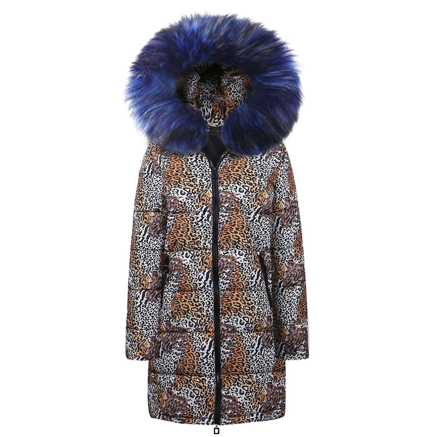 bluee I'll NEVER BE HER Womens Winter Long Down Cotton Leopard Print Hooded Coat et Outwear Long Sleeves