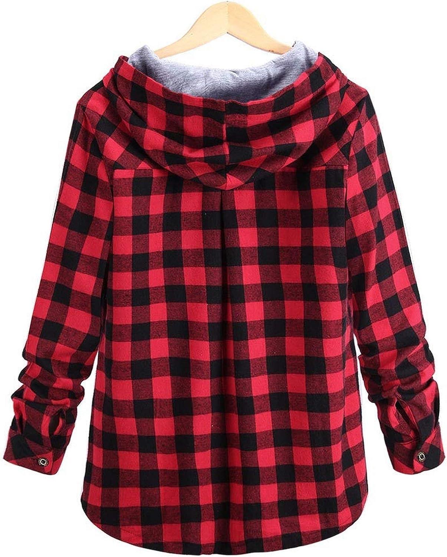 Rseobl Cool Casual Ladies Girls Hooded Hoodies Womens Long Sleeve Plaid Hooded Cardigan Jacket Blouse Moletom Feminino Womens Clothesgreensunited States