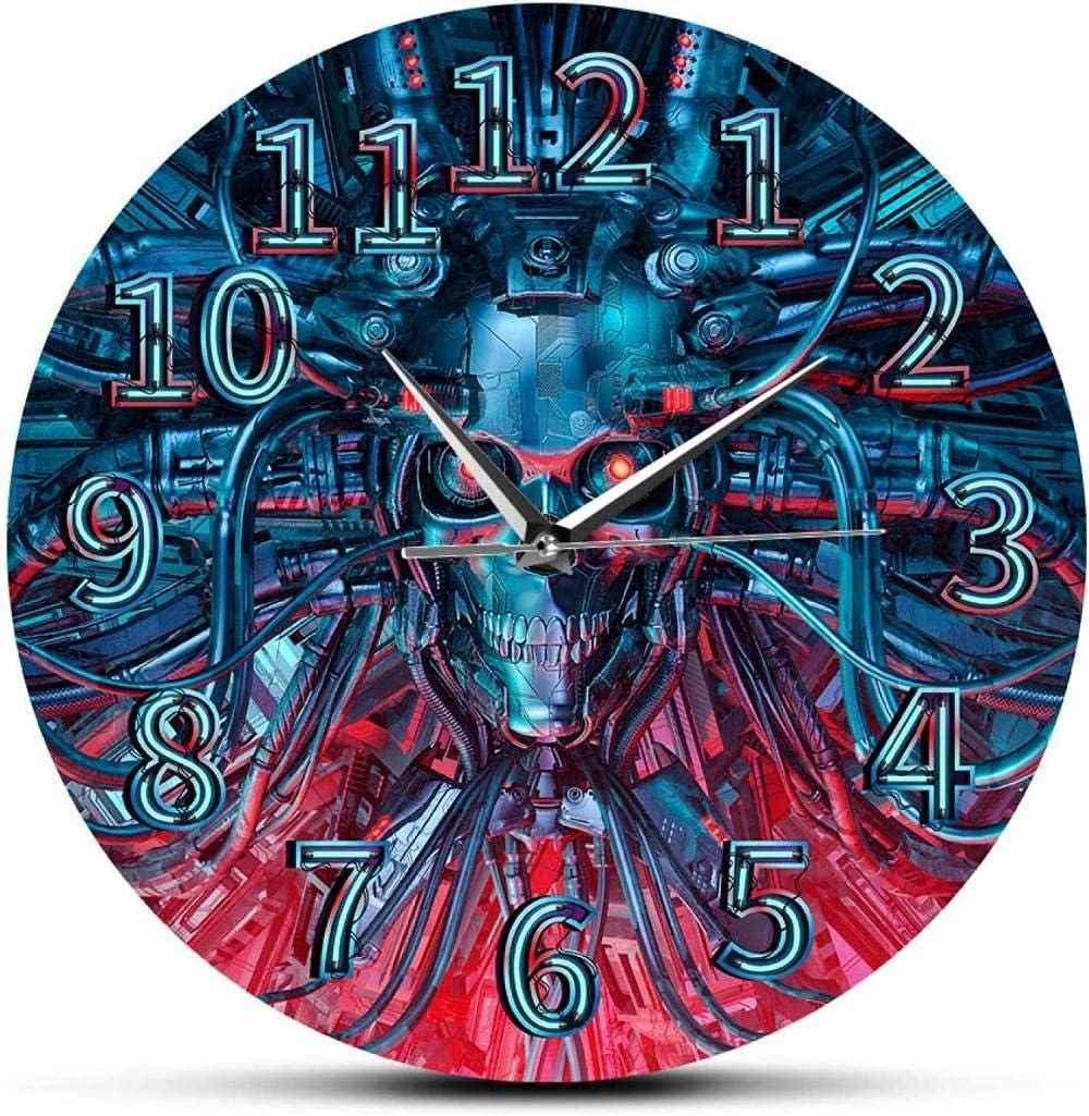 Indoor Wall Clock Wall Clocks Science Fiction Scary Robotic Skull Modern Wall Clock Heavy Metal Steampunk Roboskull Halloween Skeleton Home Decor Wall Watch