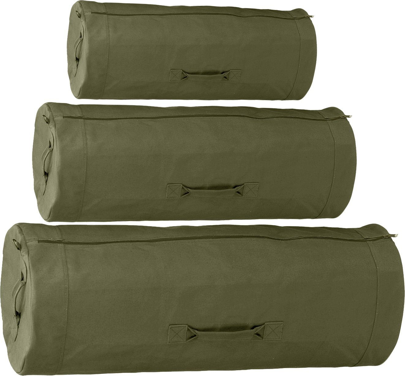 Side Zipper Military Duffle Bag by Army Universe (Olive, 30'' x 50'')